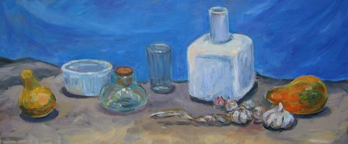 Still Life With Garlic original painting by Birutė Ašmonienė. Oil painting