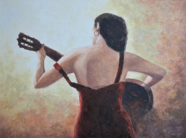 The Musician original painting by Rimantas Virbickas. Oil painting