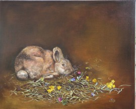 Brown Rabbit With Flowers