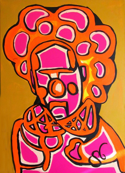 Faces Expression II original painting by Saulius Ginetas. Acrylic painting