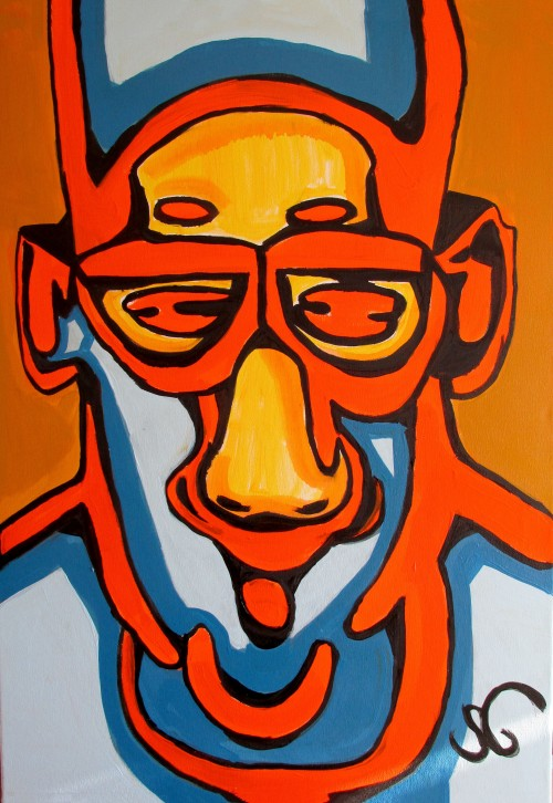 Faces Expression III original painting by Saulius Ginetas. Acrylic painting