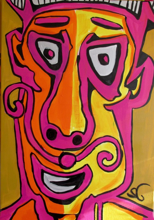 Faces Expression IV original painting by Saulius Ginetas. Acrylic painting