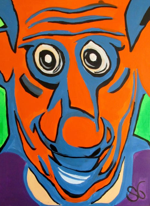 Faces Expression VI original painting by Saulius Ginetas. Acrylic painting