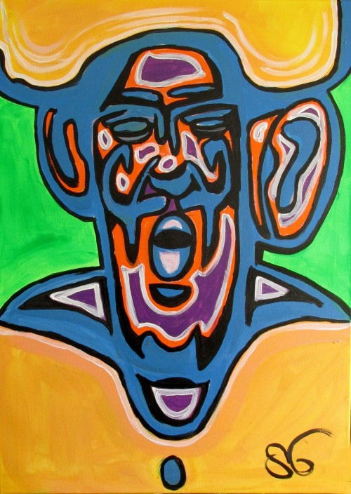 Faces Expression VII original painting by Saulius Ginetas. Acrylic painting