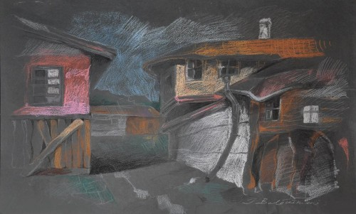 This is not my yard original painting by Inga Balčiūnienė. Pastel