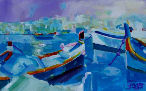 In Malta V original painting by Jonas Grunda. Acrylic painting