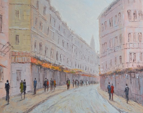 Old Town II original painting by Rimantas Virbickas. Oil painting