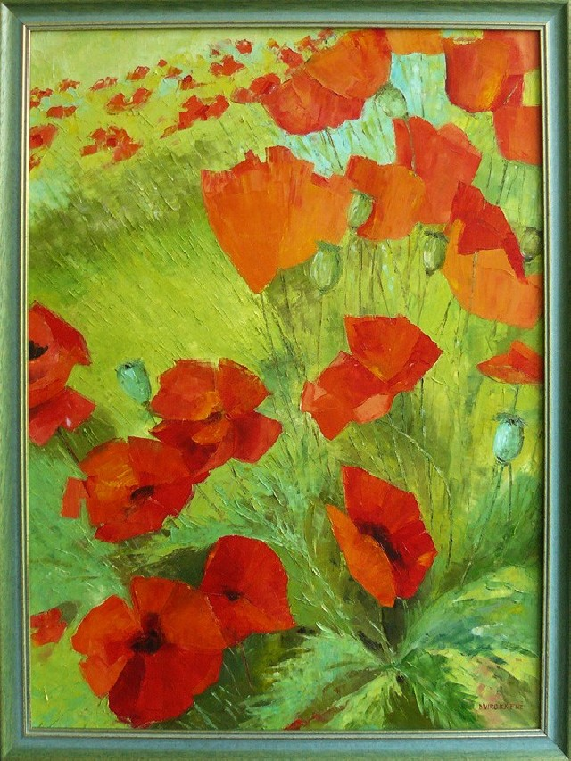 Poppies original painting by Danutė Virbickienė. Oil painting
