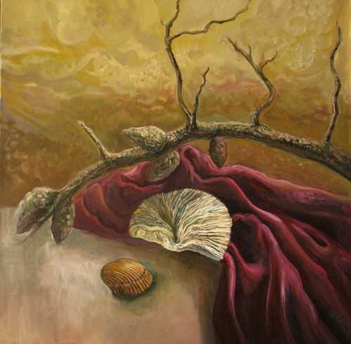 Still Life With A Branch And A Sea Shell original painting by Jolanta Sereikaitė. Acrylic painting