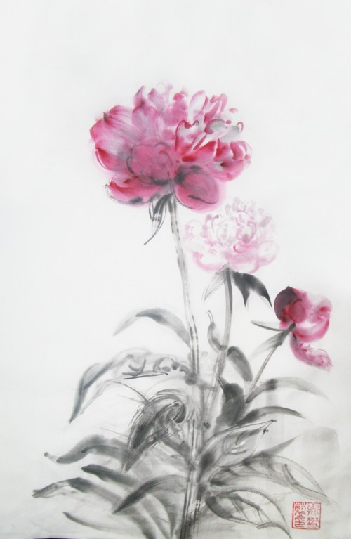 Peonies original painting by Jolanta Sereikaitė. Other technique