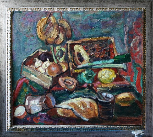 Kitchen Still Life original painting by Viačeslavas Sokoleckis. Oil painting