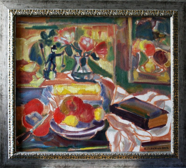 Still Life With Chimney - Sweep original painting by Viačeslavas Sokoleckis. Oil painting
