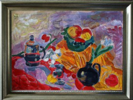 Still Life With Apples And Dishes original painting by Viačeslavas Sokoleckis. Oil painting