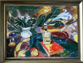 Still Life With Flowers And Bottle original painting by Viačeslavas Sokoleckis. Oil painting