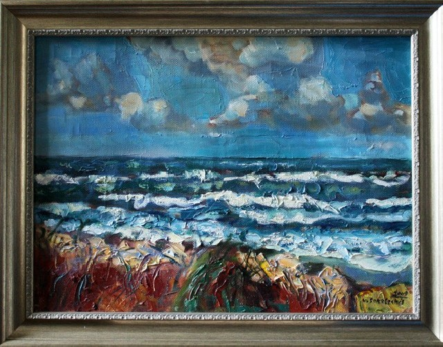 Sea original painting by Viačeslavas Sokoleckis. Oil painting