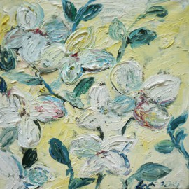 Flower Blossoms original painting by Kristina Česonytė. Oil painting