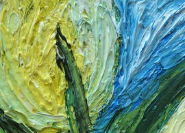 Yellow Tulip Blossoms Between Leaves original painting by Kristina Česonytė. Oil painting