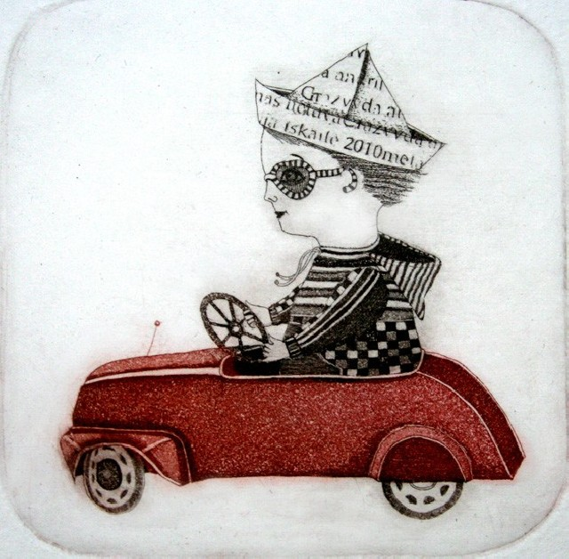 A Boy And His Car original painting by Gražvyda Andrijauskaitė. Graphics and printing