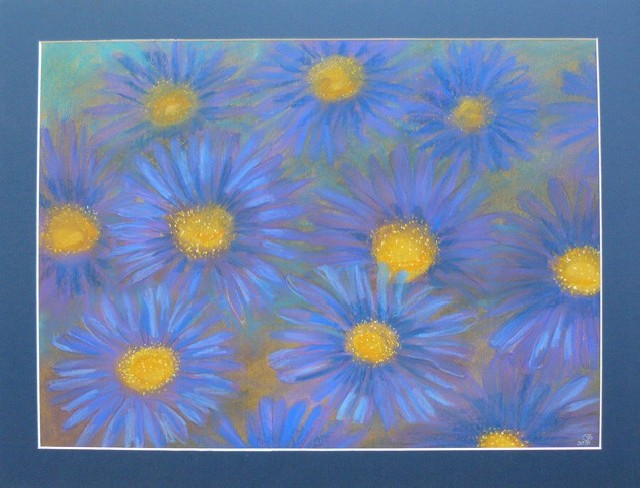 Winter Asters original painting by Gražina Luckutė-Bukienė. Pastel