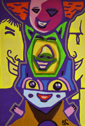 Faces Ekspression X - Meeting original painting by Saulius Ginetas. Acrylic painting