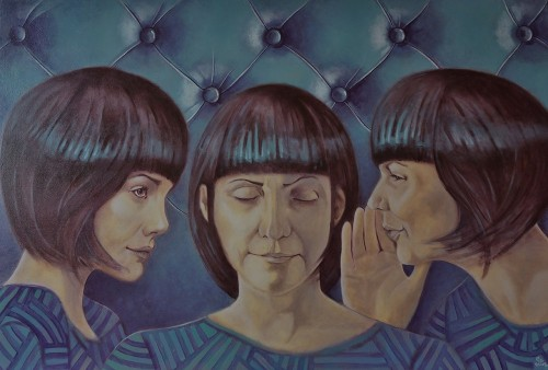 Sisters Agreement original painting by Gintas Banys. Acrylic painting