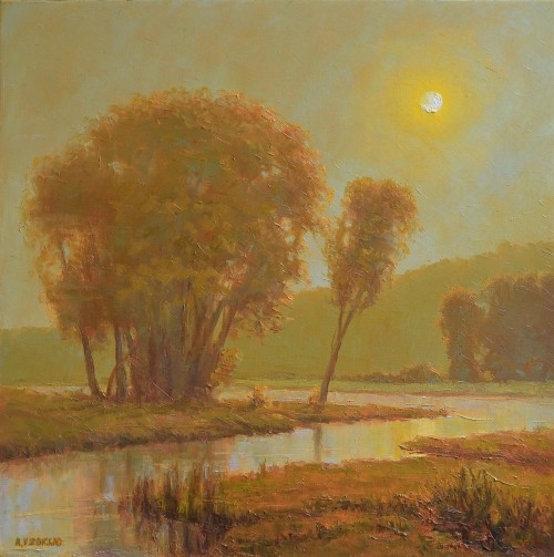 Warm Landscape original painting by Rimantas Virbickas. Oil painting