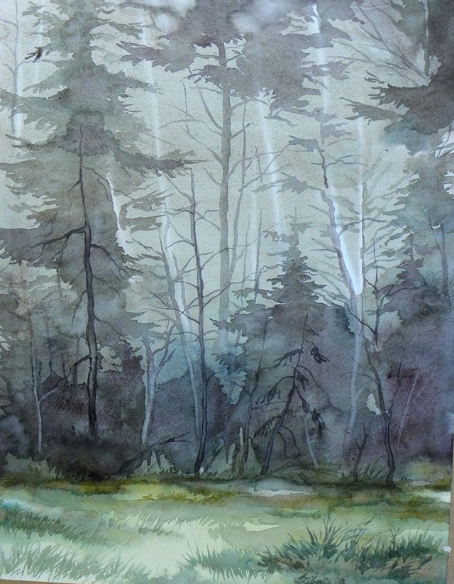 The Forest original painting by Algirdas Zibalis. Watercolor painting