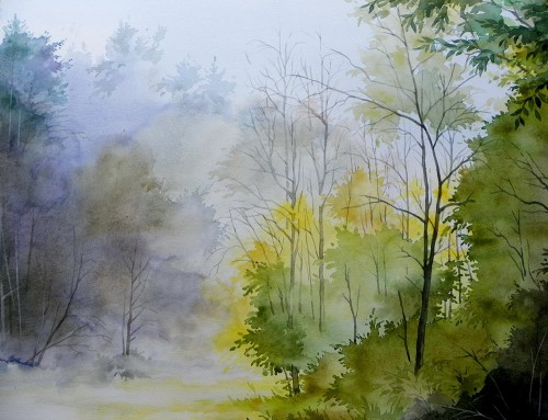 Awakening original painting by Algirdas Zibalis. Watercolor painting