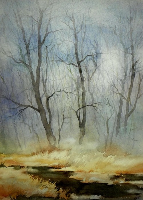 Early Spring original painting by Algirdas Zibalis. Watercolor painting