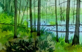 Swamp original painting by Algirdas Zibalis. Oil painting