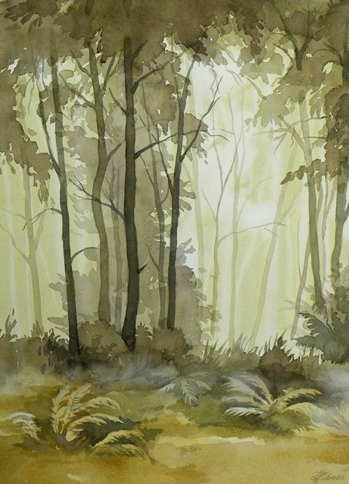 The Ferns original painting by Algirdas Zibalis. Watercolor painting