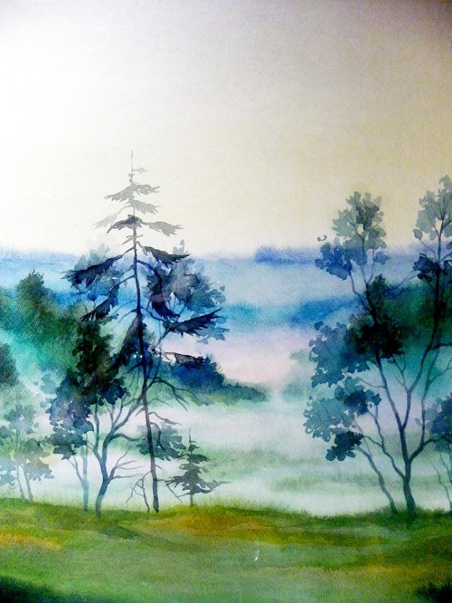 Morning original painting by Algirdas Zibalis. Watercolor painting