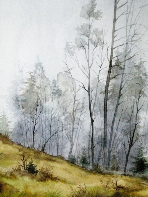 Mist original painting by Algirdas Zibalis. Watercolor painting