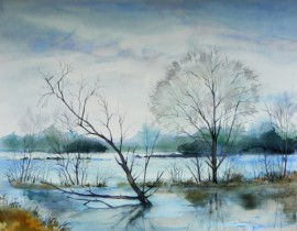 Flooded Trees original painting by Algirdas Zibalis. Watercolor painting