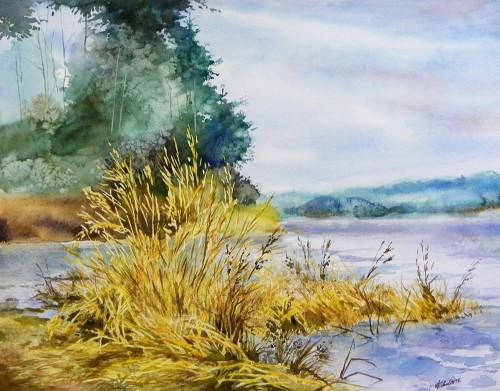 Old Reeds original painting by Algirdas Zibalis. Watercolor painting