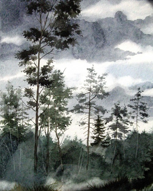 Before the Rain original painting by Algirdas Zibalis. Watercolor painting