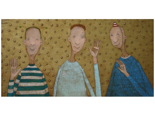 Three Friends original painting by Rolana Čečkauskaitė. Other technique