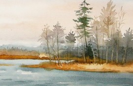 The Pond original painting by Algirdas Zibalis. Watercolor painting