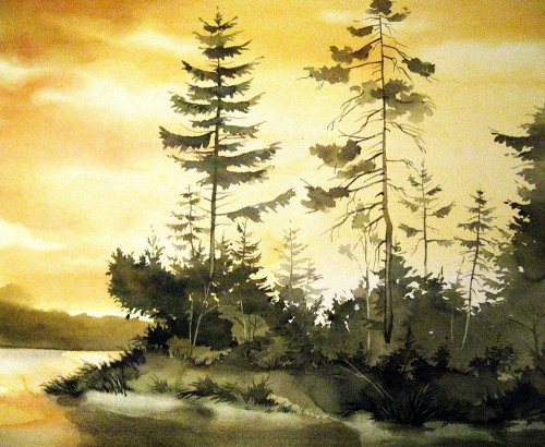 The Sunset original painting by Algirdas Zibalis. Watercolor painting