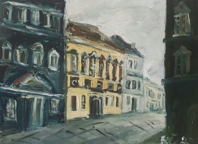 Colorful Old Town original painting by Kristina Česonytė. Oil painting