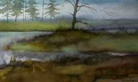 Early Morning at the Pond original painting by Algirdas Zibalis. Watercolor painting