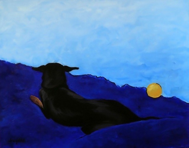 Dog With Yellow Ball original painting by Gintarė Marčiulynaitė. Animalistic Paintings