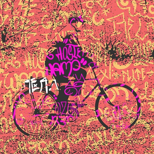 Cyclist in the Urban Background original painting by Tadas Šimkus. Other technique