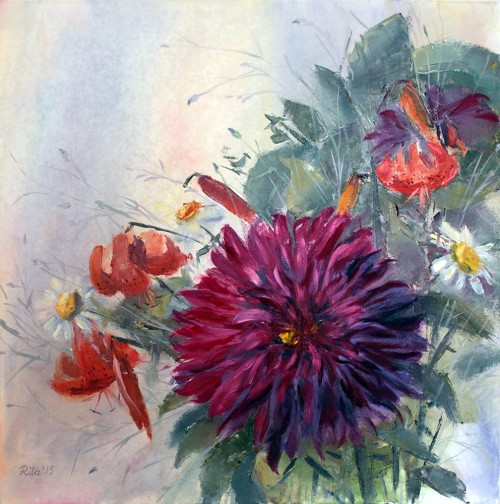 The Summer Bouquet original painting by Rita Medvedevienė. Oil painting