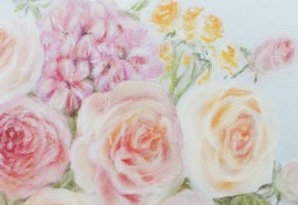 Flowers original painting by Rasa Kondrusevičienė. Pastel