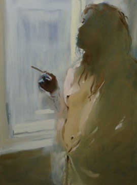 Morning Cigarette original painting by Vygandas Doveika. Oil painting