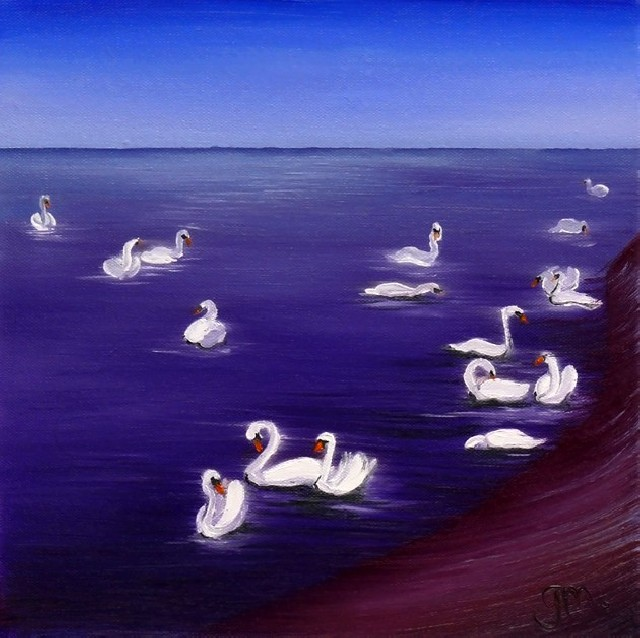 Swans original painting by Gintarė Marčiulynaitė. Landscapes