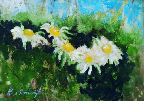 Camomiles original painting by Rasa Staskonytė. Flowers