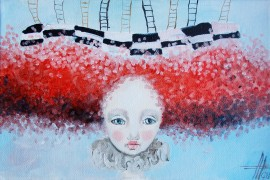 Dreams of doll original painting by Agnė Mikalauskienė. Fantastic