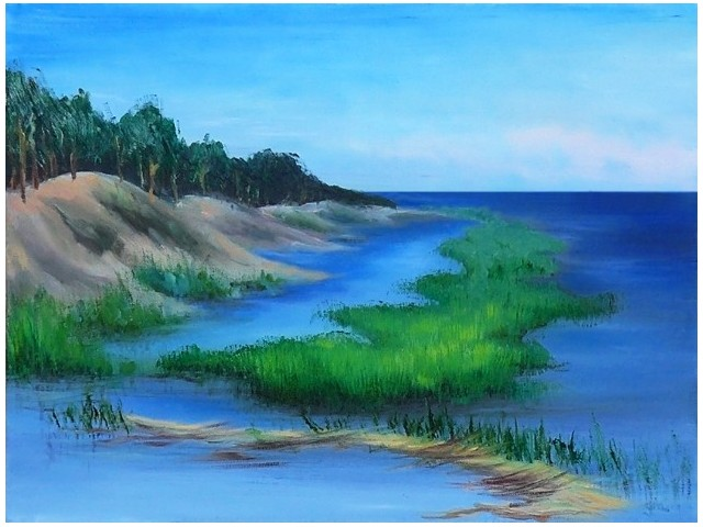 Bulrush Coast original painting by Gintarė Marčiulynaitė. Oil painting
